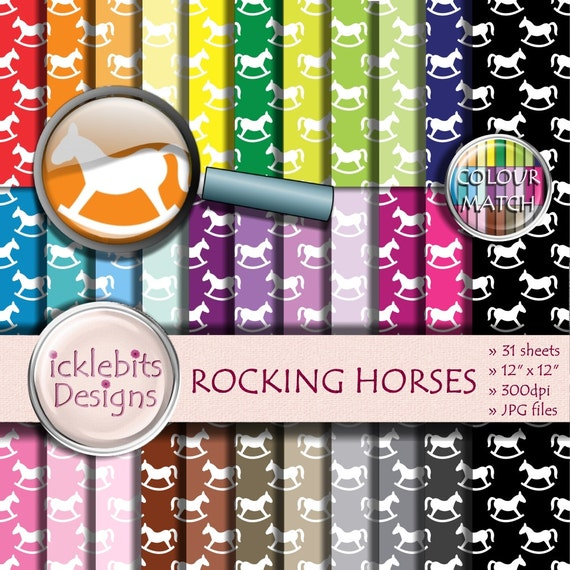 "Baby Digital Paper Pack ~ ""ROCKING HORSES"" ~ 31 Sheets ~  baby scrapbooking ~  CU Scrapbooking Paper ~ Rainbow Paper ~ Design #102"