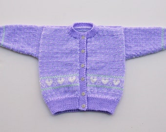 Hearts and Flowers Fair Isle Cardigan Size 12 to 18 Months