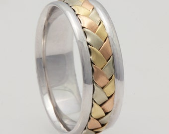 7mm 14K Tri Color Gold Hand-Woven Basket Weave Comfort Fit Wedding Band, Gold Rings, Braided Rings,