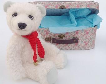 Artist Bear - White mohair collectible polar bear teddy 'snowy' - artist teddy bear