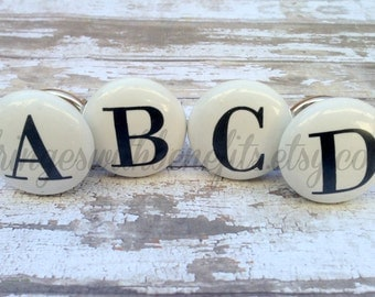 CERAMIC KNOBS - ABC Knobs, Alphabet Knobs, Shabby Chic Knobs, Drawer Knobs, Antique Knobs, Vintage Knobs, Drawer Pulls, Dresser Drawer Pull