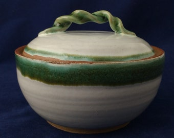 Green and white sugar bowl