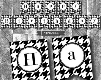 DIY Houndstooth Adult Birthday Party Decoration Printable Banner-Happy Birthday