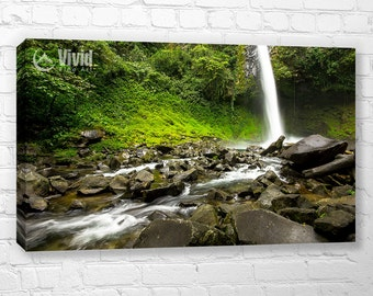 Waterfall canvas art print, rainforest wall art, costa rica picture, waterfall wall decor, waterfall picture, mossy green, 2 panel art