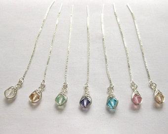 Swarovski Crystal Threader Earrings, Wedding Crystal Earrings, Swarovski Crystal and Sterling Silver Threader Earrings by The Celtic Elf