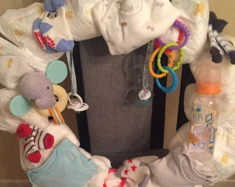 Personalized diaper wreath for baby shower