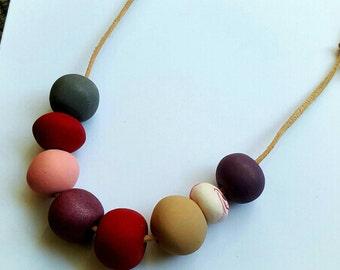 SALE Handmade polymer clay bead necklace.