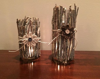 Set of two rustic glass candle holders with flowers, twigs and twine, rustic home decor, farmhouse decor, glass candle holder rustic