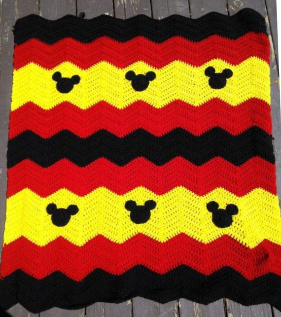 Crochet Pattern For Minnie Mouse Blanket : Crocheted Chevron Blankets with Minnie Mouse and Mickey Mouse