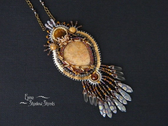 """Pendant """"Prairie Wind"""" Bead embroidery pendant Beadwork pendant Brown pendant  Embroidery jewelry Tiger's eye pendant Fossilized coral"""