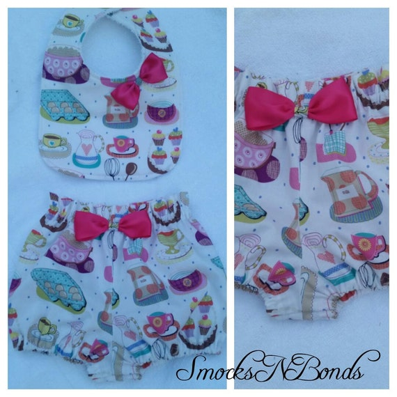 Adorable Baker's Delight bib and bloomer set Available in sizes 0-3month thru 24months