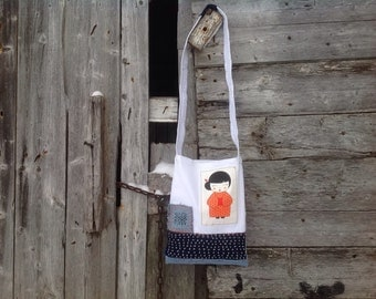 Crossbody bag made of jean recycled with embroidery Shashiko / Jean recycled bag / Kokeshi doll