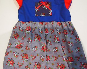Red and Blue Floral Summer Dresses - Size 3 & 4