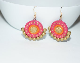PINK AND ORANGE Color necklace terracotta jewelry set