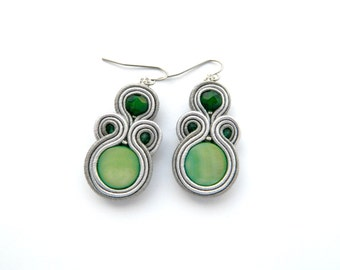 Gray earrings, green earrings, shell bead earrings, everyday jewelry, boho earrigns, soutache earrings, medium earrings,