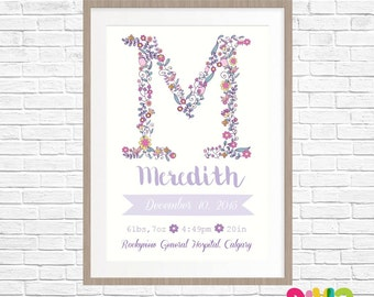Personalised Birth Stat Print- Floral Letter (Digital Or Printed)