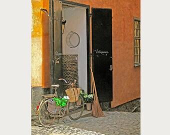 Rustic Decor, Door Photo Art, Shabby Chic Decor, Home Decor, Wall Art, Door,Bike with Flowers, Bicycle, Brown, Yellow, Black