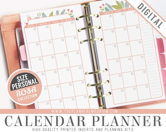 Personal Calendar Planner Inserts - ROSA Collection - Fits Kikki K Medium, Filofax Personal Printable - Monthly View - Pink Floral Design
