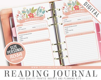 Personal Reading Journal Inserts - ROSA Collection - Fits Kikki K Medium Filofax Personal Printable - Book Entry Tracker Log - Floral Design