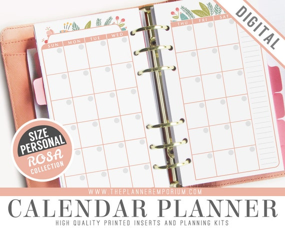personal calendar planner inserts rosa collection fits