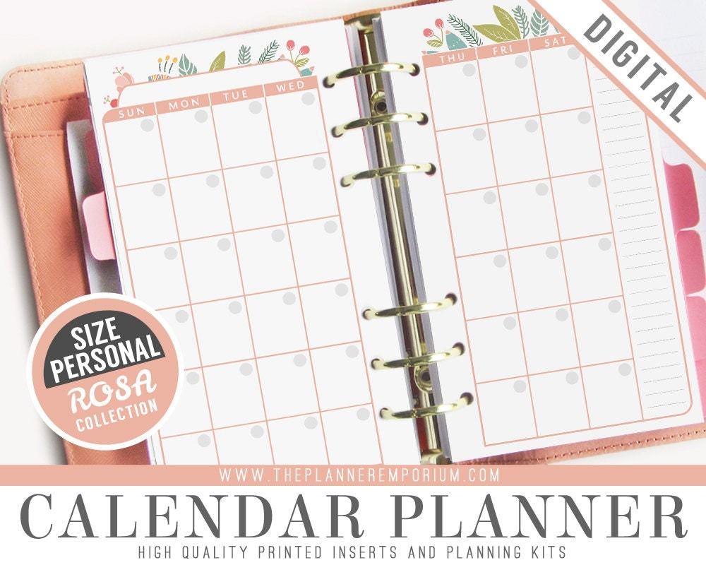 Planner Calendar Inserts : Personal calendar planner inserts rosa collection fits