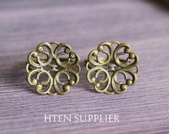 20pcs Antique Bronze / Silver Adjustable Filigree Flower Ring Base, RingSetting