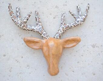 Paper Mache Deer Head - Deer Antler Wall Hanging - Customizable Deer head