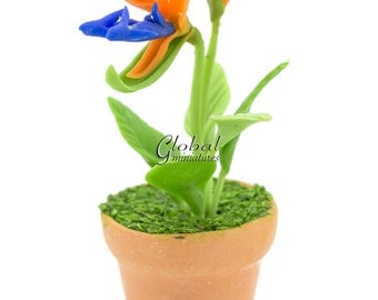 Dollhouse Miniatures Handcrafted Clay Orange & Blue Bird of Paradise Plant in Round Flowerpot