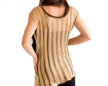 Golden blouse silk/ dress gold vertical line