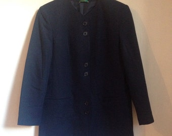 """SALE was 18 1980s Ladies Vintage Navy Blue Collarless Canda Blazer. Size 12-14 Bust 40"""". Casual or Office Wear"""