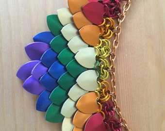 Gay Pride Scalemaille Necklace