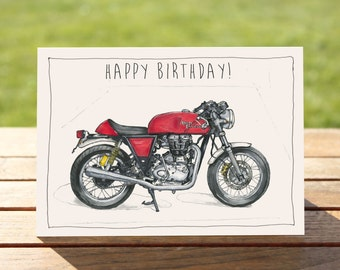 """Motorcycle Birthday Card -  Red Cafe Racer 