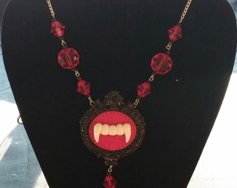 Goth Vampire Fang Polymer Clay Cameo Pendant Necklace