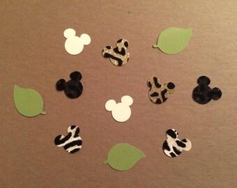 Safari Mickey Mouse Inspired/ Safari Minnie Mouse Inspired Confetti, Party Confetti, Animal Kingdom Confetti, Paper Cutouts