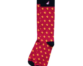 "Harry Potter Lightning Bolt Men's & Women's Socks: Red, Gold Black, Fun Colorful- ""Stormchaser"" Christmas Holiday Gift Stocking Stuffer"