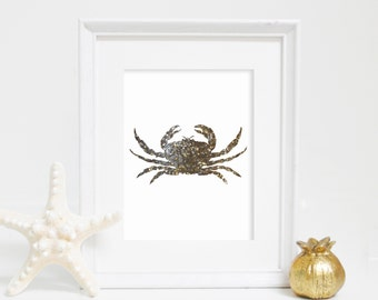 Sea Wall Print, Gold Crab Print, Wall Decor, Gold Print, Instant Download, Beach House Decor, Baby Shower Gift, Crab Wall Art, Nautical Art