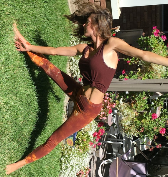 Tall Earth Brown Orange Tie Dye Yoga Leggings Including Extra Long and Plus Sizes by Splash Dye Activewear