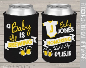 couples baby shower coozies - baby is brewing can coozies can coolies - baby shower coozie