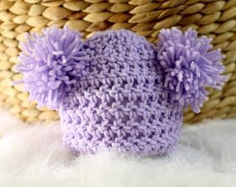 Lavender Newborn Teddy Bear Crochet Beanie Photo Prop