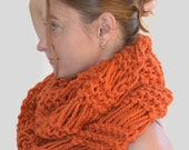 Knitted Scarf Tube Knit Scarf Infinite Loop Scarf Large Orange Knitted Scarf Large Loop Christmas Present Birthday Gift