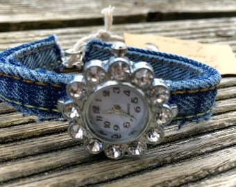 Hand made demin watch strap with silver and rhinestone face