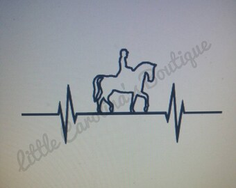 Heartbeat with Horse & Rider decal