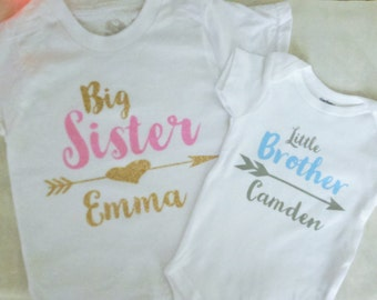 Personalized Big Sister / Little Brother Shirt / Onesie set