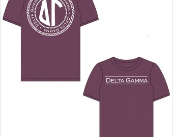 Delta Gamma // DG // AXO // Sorority Comfort Color Short Sleeve Signature Tshirt // Choose Your Color