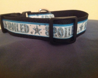 1 Inch Wide 12-17 Adjustable. BLUE SPOILED  Pattern Grosgrain Dog Collar