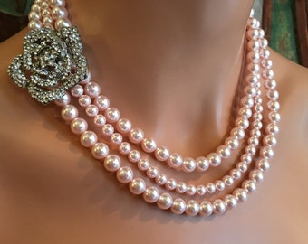 Blush Wedding Necklace with Brooch and Earrings Set 3 strands Blush Pink Swarovski Pearls in Rosaline or your choice of color bridal jewelry