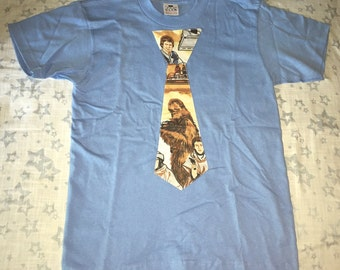 Boy's T Shirt with Tie Applique size 10-12 - Chewbacca on Light Blue - Ready to Ship