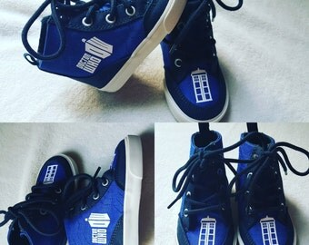 Doctor Who Toddler Shoes - Royal and Navy Blue Canvas Hi Tops