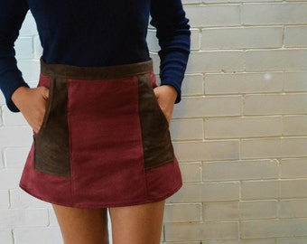 Mini skirt , faux suede 70s inspired UK size 2  XXS