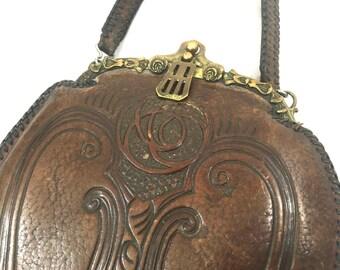 1920's Purse | Vintage Arts & Crafts Turnloo Tooled Leather Handbag